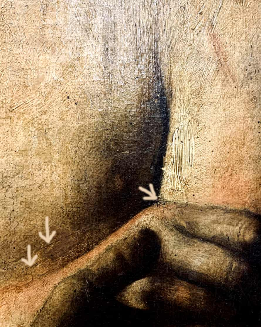 Detail showing the brush strokes that identified the work.