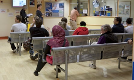 A waiting area at Royal Free hospital in Hampstead, north London