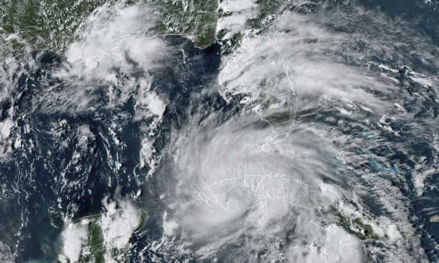 Hurricane Ida crossing western Cuba in satellite image