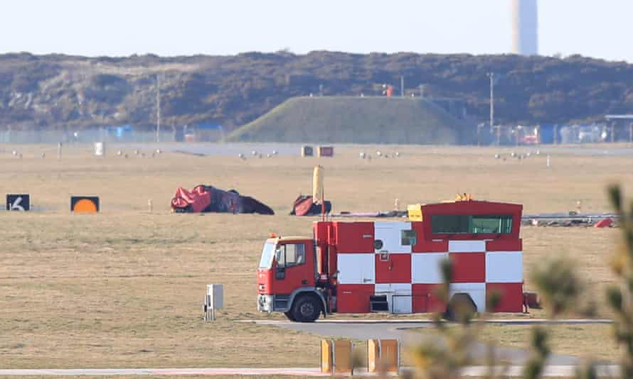 Wreckage at the scene of the crash at RAF Valley in Wales.