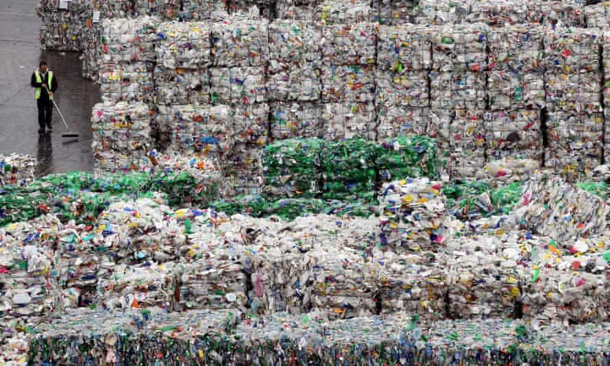Bales of plastic waste