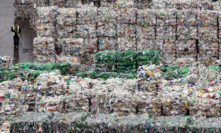 Bales of plastic waste