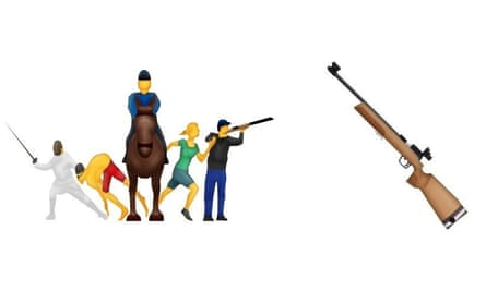 Mockups of the Modern Pentathlon and Rifle emoji by Emojipedia.