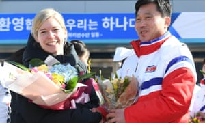 Sarah Murray, who coaches the joint Korean Olympic ice hockey team, with the North Korean coach Pak Chol-ho in January.