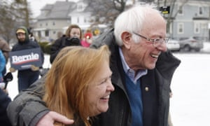 Bernie Sanders with his wife Jane in Manchester on Tuesday. Sanders is leading in the polls.