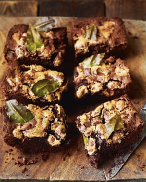 Wry humour: chocolate rye brownies with bay and almonds.
