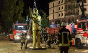 The statue of the Turkish PM was part of a controversial art project in the Wiesbaden Biennale.