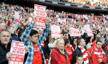 Liverpool supporters make clear their feelings regarding the Sun newspaper ahead of their 2012 League Cup final meeting with Cardiff City at Wembley