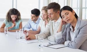 Casual businesswoman falling asleep during meeting DY7K3K Casual businesswoman falling asleep during meeting