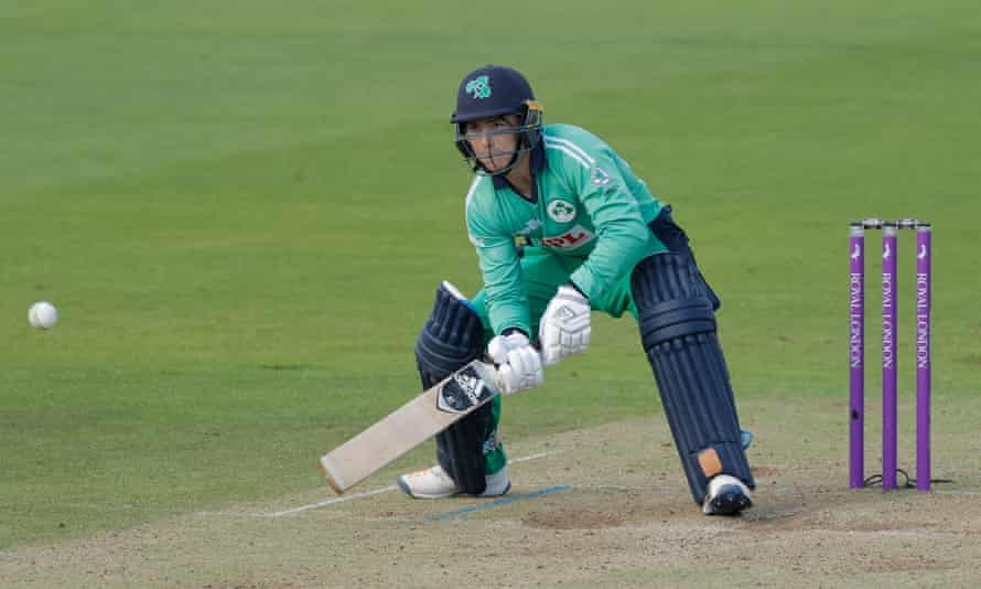 Curtis Campher prepares to sweep off Reece Topley's bowling to bring up his 50, on his way to 68 for Ireland.