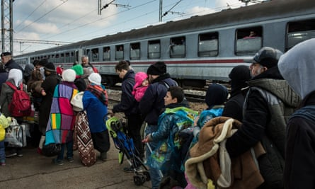 Refugees from Syria arrive from the Serbian border at Slavonski Brod in Croatia,