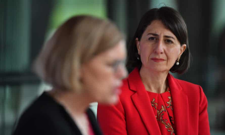 NSW chief health officer Dr Kerry Chant (left) and NSW premier Gladys Berejiklian provide a Covid update on Friday.