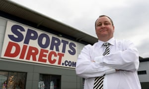 Sports Direct founder Mike Ashley outside company headquarters in Shirebrook, Derbyshire.