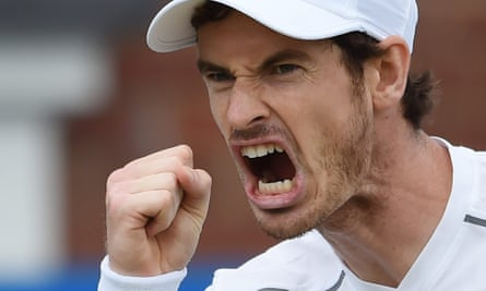 Andy Murray celebrates after winning a point against Canada's Milos Raonic during the Queen's final yesterday. EPA/FACUNDO ARRIZABALAGA