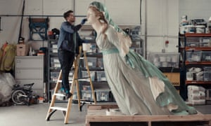 The figurehead of the HMS Sybille, 1846, one of 14 restored carvings to go on display in Plymouth.