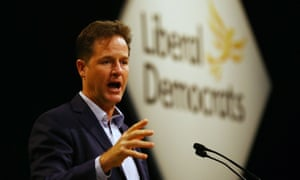 Nick Clegg speaking at the Lib Dem conference this morning.