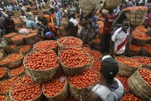 People buy tomatoes from a vegetable market in Lagos, where lockdowns have held up food supplies during the pandemic.