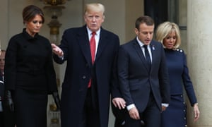 Donald and Melania Trump with Emmanuel Macron first lady Brigitte Macron on 10 November.