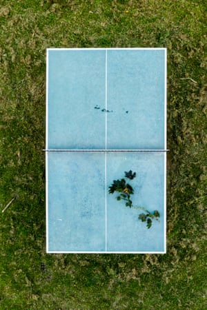 Aerial photographs taken by drone of abandoned playgrounds in Britain by photographer Ciaran McCrikcard.