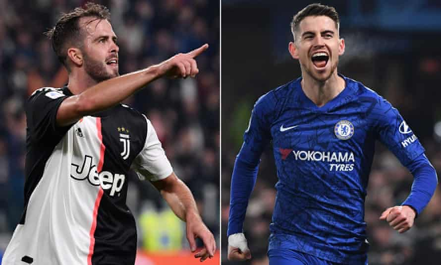 Miralem Pjanic (left) could leave Juventus this summer with his club exploring a possible swap deal for Chelsea's Jorginho.