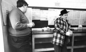 Albert Finney in his family bookmakers in Salford in April 1977