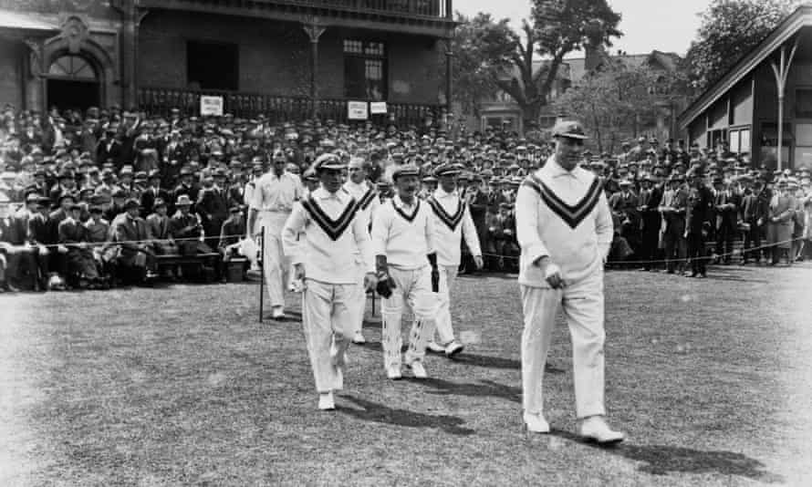 The Australian team takes the field during the first Ashes Test at Trent Bridge, Nottingham, 28-30 May 1921