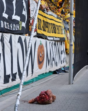 Supporters of Dynamo Dresden threw a severed bull's head onto the side of the pitch during a game.