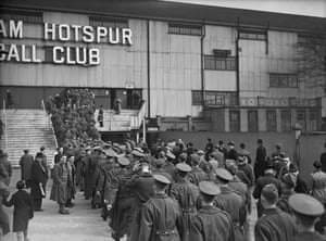 British soldiers on leave, queuing outside White Hart Lane, before a match between Arsenal and Chelsea in March 1940. Spurs and Arsenal had to groundshare at White Hart Lane as Highbury had been requisitioned as an ARP (Air Raid Precautions) centre.