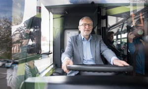 Jeremy Corbyn has a look around an 'eco bus' during a visit to Nottingham, where the Labour council runs its own buses including a fleet of eco buses through Nottingham City Transport.