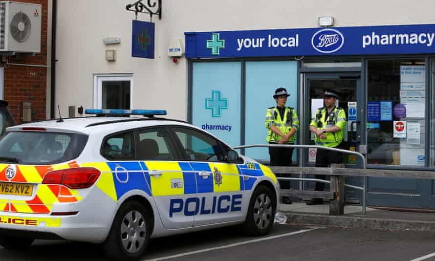 Police at a cordoned off area in Salisbury.