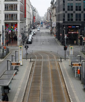 A general view shows an almost empty Friedrichstrasse boulevard, one of the city's best known shopping zones, during lockdown amid the coronavirus pandemic, in Berlin, Germany, on 5 February, 2021.