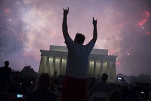A fireworks display follows the Salute to America ceremony in front of the Lincoln Memorial