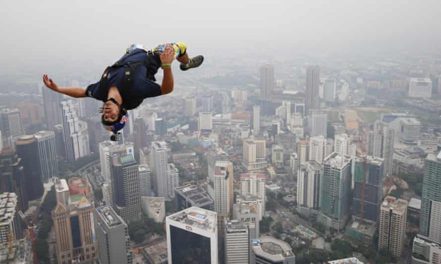 Vince Reffet after leaping from the 300-metre Open Deck of Kuala Lumpur Tower