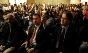 A vigil for Srinivas Kuchibhotla was held at a conference center in Olathe, Kansas Sunday.