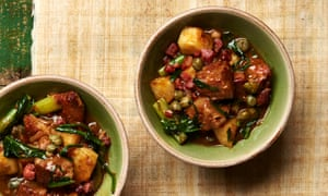 Yotam Ottolenghi's veal stew with puntarelle, celeriac and capers.