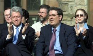 Former US president Bill Clinton (left) and SDLP leader John Hume, with Adams behind, in 2001.