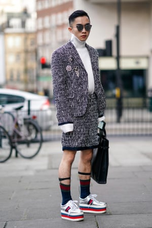 Pull your socks up: worn with suspenders at London Fashion Week Men's, 2018