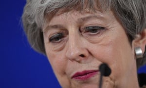 Theresa May holding a press conference on Thursday at the end of the first day of an EU summit focused on Brexit, in Brussels.