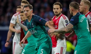 Jan Vertonghen (centre) was wearing a mask to protect a facial injury at Ajax but then picked up an ankle problem at the end of the game.