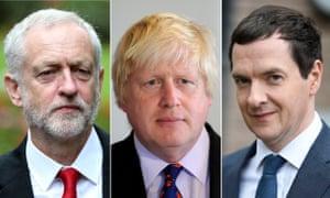 (L-R) Jeremy Corbyn, Boris Johnson and George Osborne