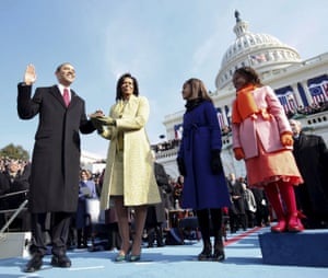Barack Obama takes the oath as the 44th president of the United States in Washington DC, in January 2009.