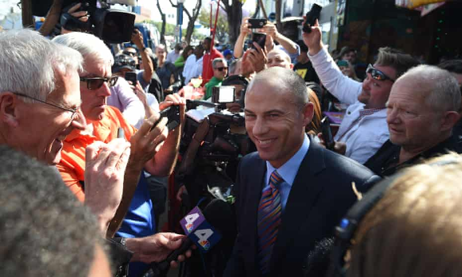 Michael Avenatti speaks to the media after the presentation to Stormy Daniels of a key to the city of West Hollywood.