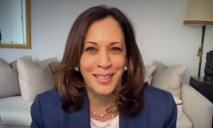 A screen grab from a video feed shows California Senator Kamala Harris during the first night of the DNC.