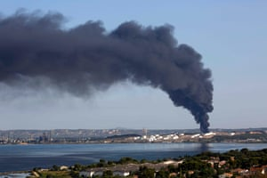 Etang de Berre, France Smoke billows into the sky from one of two fires that started overnight on a petrochemical facility owned by American firm LyondellBasell
