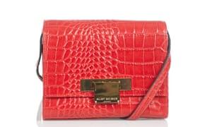 Red mock croc patent cross-body bag