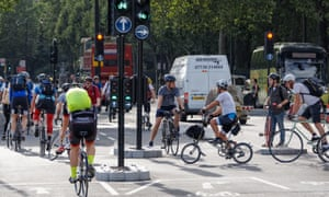 Cyclists on Cycle Superhighway near the Blackfriars bridge