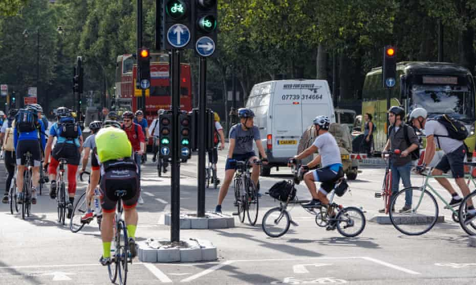 Cyclists on Cycle Superhighway near the Blackfriars bridge
