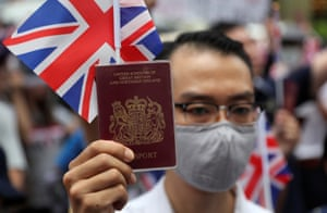 Protestors demonstrate in front of the British Consulate-General in Hong Kong called on London to grant citizenship to people born in the former colony before its return to China.