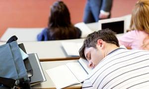 A student asleep