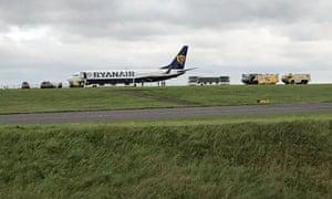 Ryanair plane at East Midlands airport